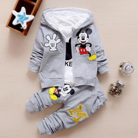 New Autumn casual baby girl/ boy clothes Cute minnie cotton t-shirt + coat + pants 3 suits baby clothes bebes kids clothing sets