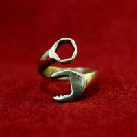 Mens Spanner Wrench Ring in Solid Bronze