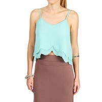 Mint Scalloped Bead Cropped Top