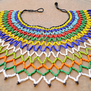 Beaded collar necklace,traditional Zulu necklace,African beaded web necklace,African bib necklace,South African beadwork,Ethnic jewellery
