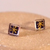 Sterling Silver Origami Paper Square Stud Earrings with Resin- Navy Blue and Gold