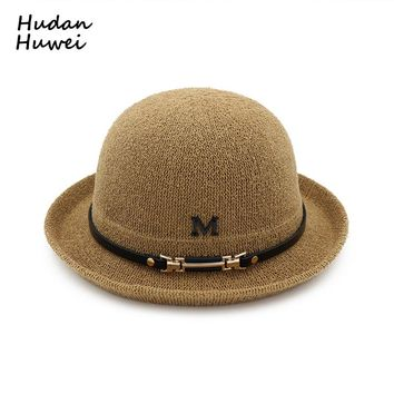 M Logo Women cotton  bowler hat Trend Loops Yarn Breathable Bucket Hats Dome fedoras felt hat derby chapeau for Ladies Girls