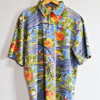 Vintage 80's Hawaiian Islands Floral Mesh Shirt