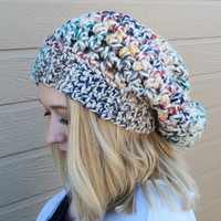 Colorful Slouchy Beanie / Slouchy Winter Hat / Beanie Slouchy / Rainbow Hat / Rainbow Beanie
