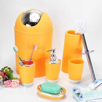 6 Pcs Bathroom Accessory Bin Soap Dish Dispenser Tumbler Toothbrush Holder Set