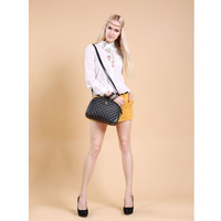 Leather Quilted Cross Body Bag wth Short Grab Handle Tote Bag-Black from KissBags