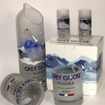 Grey Goose Vodka Glass Pitch and Glass Set, Grey Goose Carafe, Grey Goose Glassware, Upcycled Liquor  Bottles
