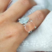 Set of silver rings with Aquamarine and Moon stone, 925 Sterling Silver, Natural stone ring, Set of rings, handmade jewelry