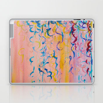 COTTON CANDY WHISPERS - Lovely Pretty in Pink Colorful Rainbow Ribbons Abstract Fine Art Painting Laptop & iPad Skin by EbiEmporium