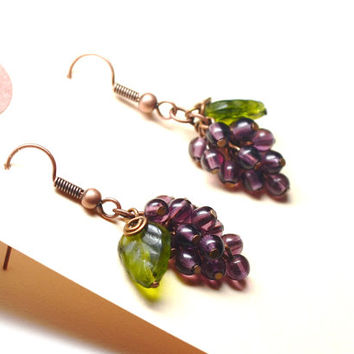 Grape Earrings Green and Purple Wine Lover Wine Taster Gift Wine Jewelry Garden Earrings Handmade Dangle Earrings Copper and Czech Glass