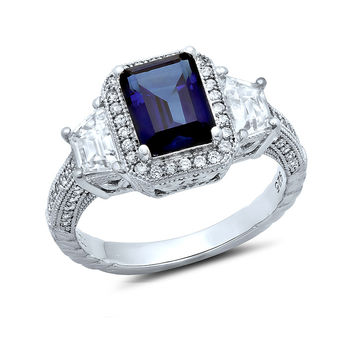 Sterling silver bonded with platinum emeral cut 3 stone lab grown sapphire pave ring and simulated diamonds by swarovski.  ZR-0232SP