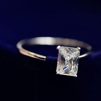ESBONG Gift New Arrival Jewelry Shiny 925 Silver Stylish Simple Design Diamonds Korean Accessory Ring [8380579655]