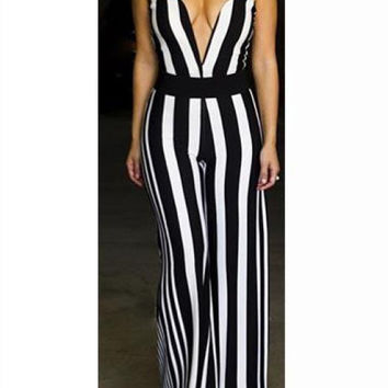 Vertical Stripe Strapless Boot Cut Jumpsuits