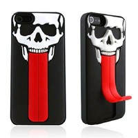 Skull Head with Red Tongue Stand Case For iPhone 4 / 4S