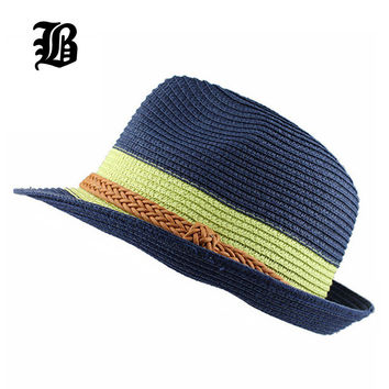 Trendy Unisex Fedora Trilby Gangster Cap For Women Summer Beach Sun Straw Panama Hat Men Fashion Hats Retail