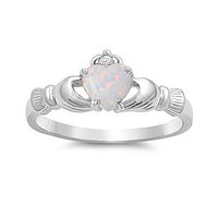 Sterling Silver Created White Opal Heart Claddagh Crown Ring
