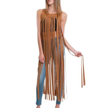 Don't Get Me Wrong Fringe Maxi Dress - Brown