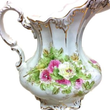 JOHN MADDOCK & Sons Royal Vitreous Porcelain Floral #1516 Pitcher