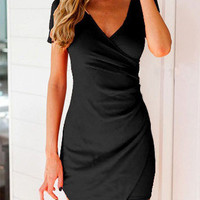 Black V Neck Short Sleeve Asymmetrical Bodycon Wrap Mini Dress