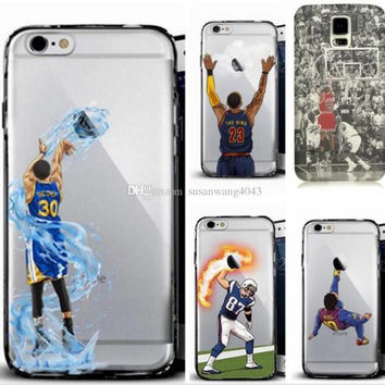 Curry Kobe James phone cases for iphone7 iphone 7 6 6s plus note7 s7 hard PC painting cover basketball football man defender case GSZ103