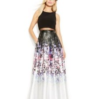Betsy & Adam Floral-Print Ombre Popover Gown | macys.com