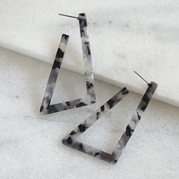 Resin Black White Drop Hoop earrings