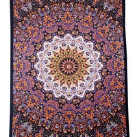 Star Elephant Tapestry - Orange & Blue - Beach Sheet - Hanging Wall Art