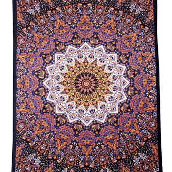 DharmaObjects Star Elephant Tapestry and Beach Sheet Hanging Wall Art, Orange-Blue