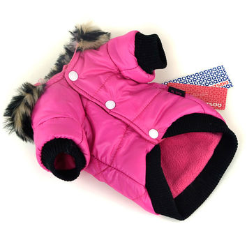 Puppy Dog Cute Warm Coat For Pet Faux Pockets Fur Trimmed Dog Hoodies Jacket Costume