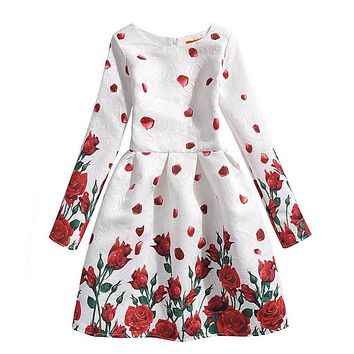 Fashion Girl's Dress girl rose Flower butterfly pattern princess Dress A-Line Baby dress Kids Costumes