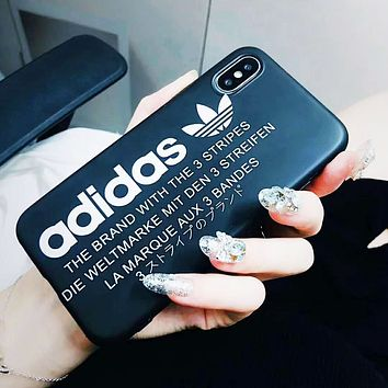 Adidas Fashion New Letter Leaf Print Women Men Protective Case Phone Case Black