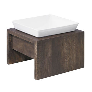 Artisan Rubberwood Single Elevated Dog Bowl Feeder — Walnut