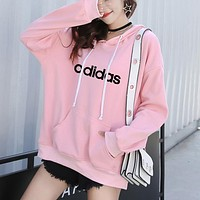 Adidas Women Men Hooded Top Sweater Pullover Sweatshirt