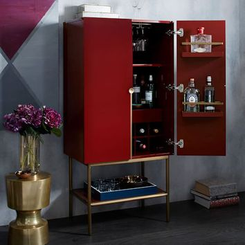 Downing Bar Cabinet - Paprika/Antique Brass