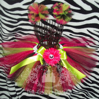 Made to Order - Lime Green, Fuchsia, Black Tutu Skirt, Hair Pom Poms -  Baby - Toddler - Girl - Dance, Pageants - FREE shipping