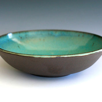 "Handmade Modern Ceramic Bowl/platter, 9.5"" wide 2.5"" tall"
