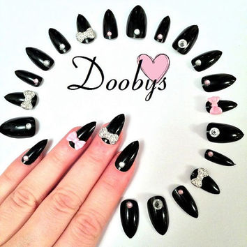 Doobys NEW Stiletto - Black Gloss Bows & Gems - 24 Pointy Claw Nails