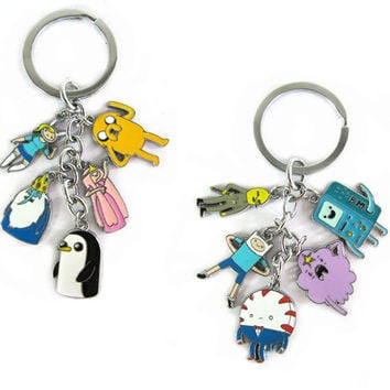 2016 New 2.6cm Cool Adventure Time Toy Figure Keychain Finn and Jake Beemo BMO Penguin Pendant Key Ring for Kids Gift