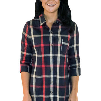 Chic Lumberjack Flannel in Navy | MACA Boutique