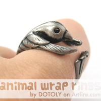 Hummingbird Bird Animal Wrap Around Ring in Silver - Sizes 4 to 9 Available