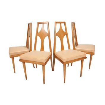 Pre Owned Mid Century Modern Maple Dining Chairs   Set 4