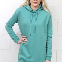Long Sleeve Oversized Hoodie Tunic {Sea Green}
