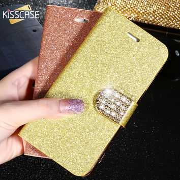 KISSCASE Luxury Rhinestone Case For iPhone 7 Plus 6 6S Plus SE 5s 5 Leather Wallet Glitter Bling Diamond Cover Bags Accessories