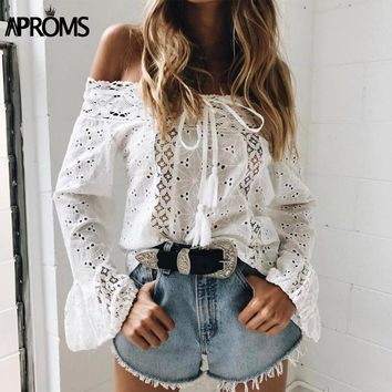 White Lace Crochet Blouse Shirt Women's Flare Sleeve Hollow Out Sheer Cotton Shirt Cool Girls Casual Tunic Tops