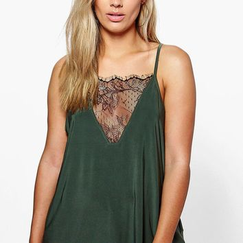Plus Emily Lace Detail Cami Top | Boohoo