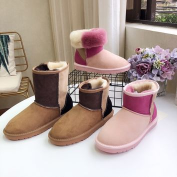 """""""UGG"""" Womens Fashion Wool Color Splice Snow Boots"""