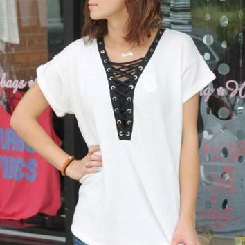 Lace Up Terry Top - Off White