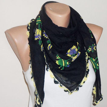 black yellow green scarf cotton scarf turkish scarf yemeni scarf black shawls fashion scarf gift for her