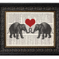 ELEPHANT LOVE II Dictionary Art Print