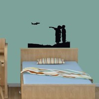 Wall Vinyl Decal Sticker Art Design Two Kids Silhouette on Meadow Looking At Airplane in Air Room Nice Picture Decor Hall Wall Chu879